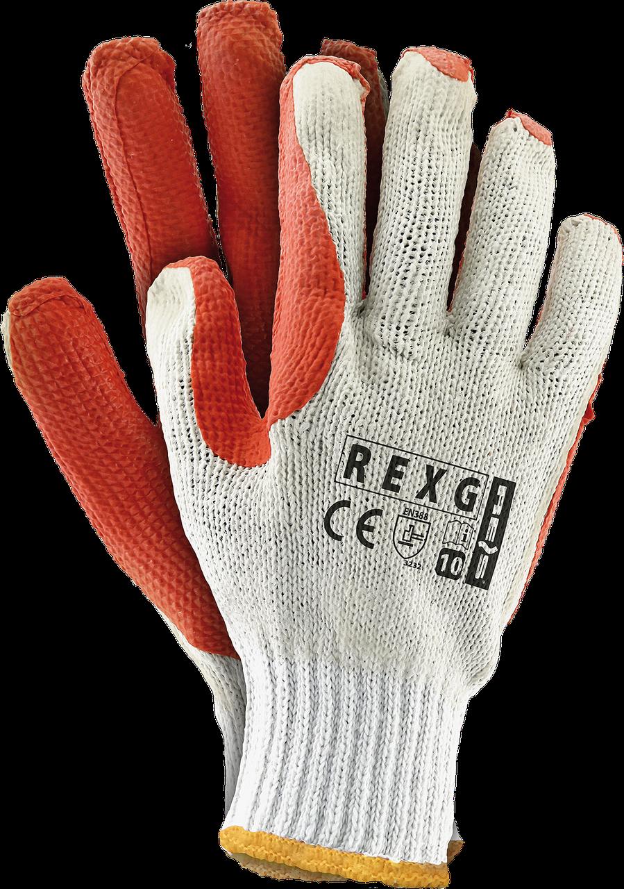 Перчатки защитные REXG WP покрытые дважды вулканизированным латексом оранжевого цвета REIS Польша