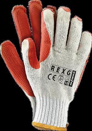 Перчатки защитные REXG WP покрытые дважды вулканизированным латексом оранжевого цвета REIS Польша, фото 2