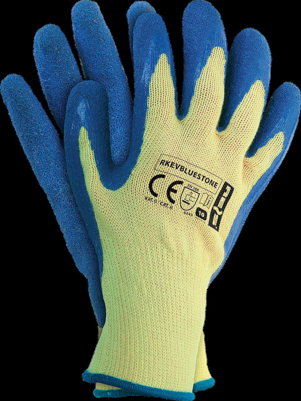 Защитные рукавицы изготовленные из пряжи Кевлар RKEVBLUESTONE YN  покрыты голубым латексом. REIS Польша
