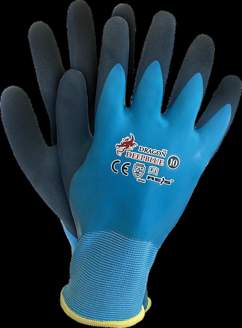 Рабочие перчатки DEEPBLUE NG покрытые латексом REIS Польша (перчатки защитные)