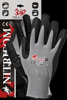 Защитные рукавицы изготовленные из нейлона, покрытые взбитым нитрилом NITRIFOM REIS Польша, фото 2