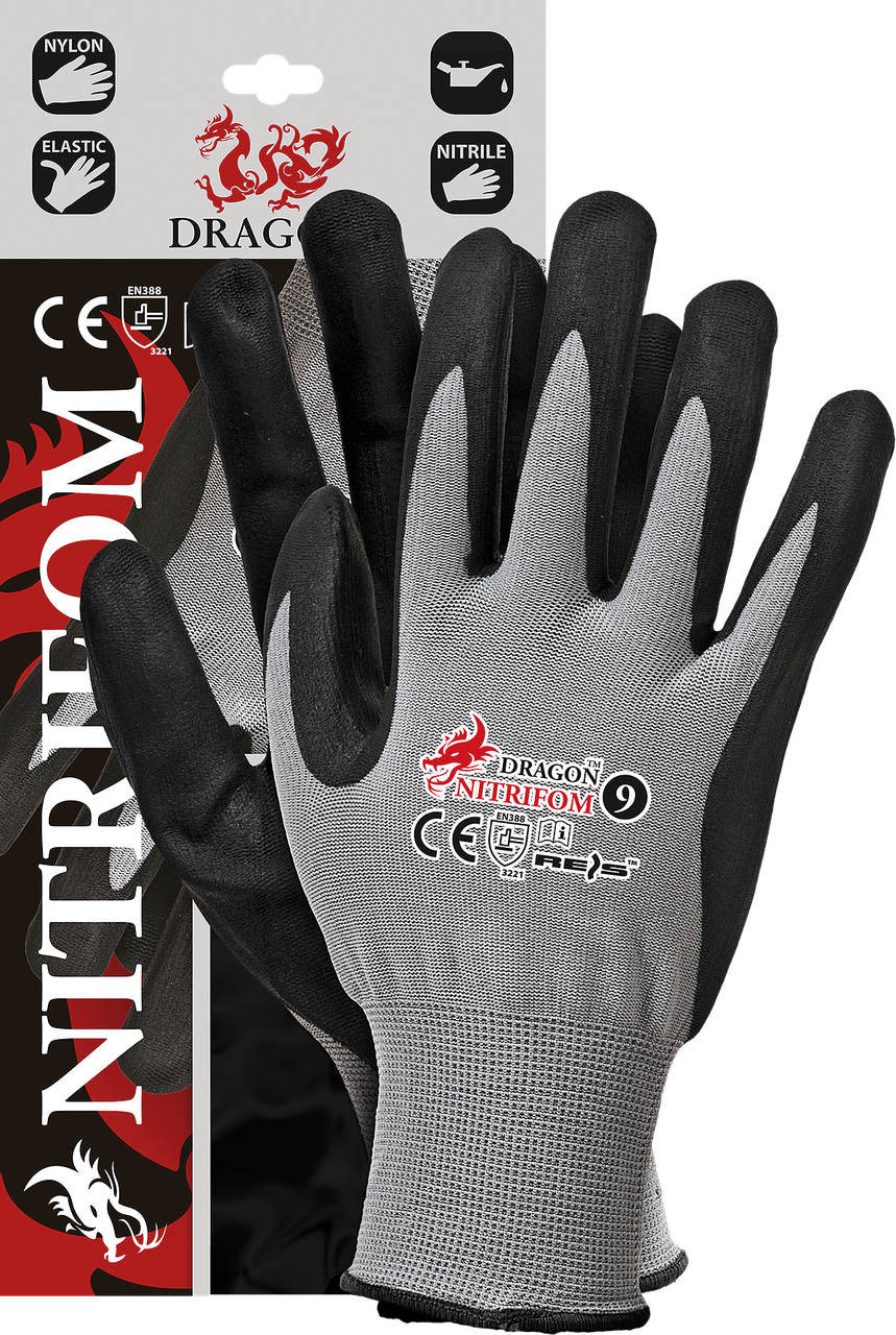 Защитные рукавицы изготовленные из нейлона, покрытые взбитым нитрилом NITRIFOM REIS Польша