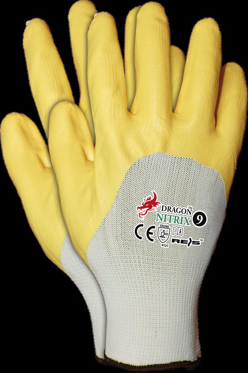 Рукавицы защитные NITRIX WY, изготовленные из полиэфира, с нитриловым покрытием, желтый цвет REIS Польша
