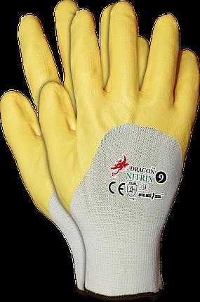 Рукавицы защитные NITRIX WY, изготовленные из полиэфира, с нитриловым покрытием, желтый цвет REIS Польша, фото 2