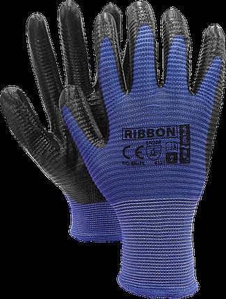 Защитные перчатки RIBBON NB из полиэстера, с покрытием из нитрилом, черно-синий цвет. REIS Польша, фото 2