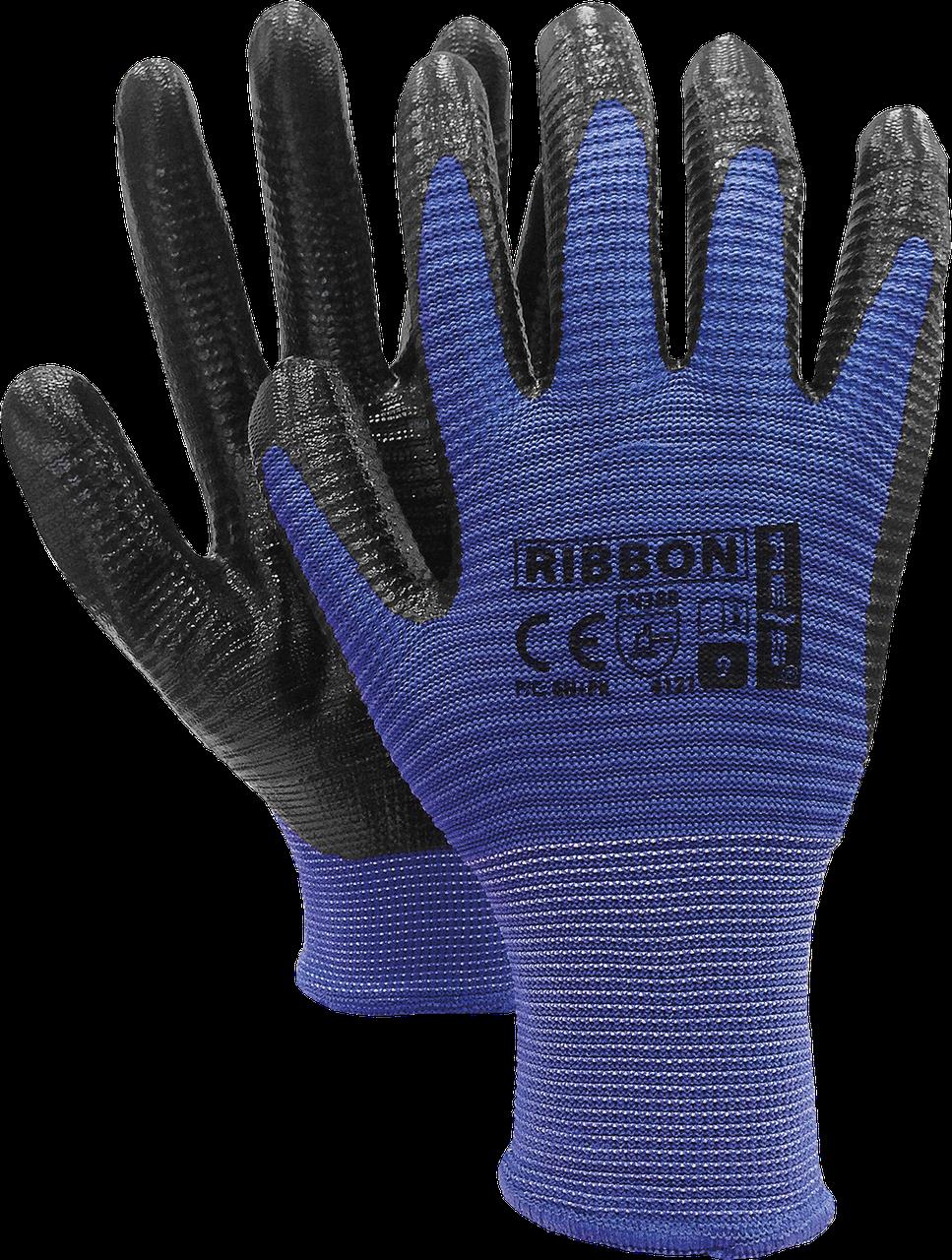 Защитные перчатки RIBBON NB из полиэстера, с покрытием из нитрилом, черно-синий цвет. REIS Польша