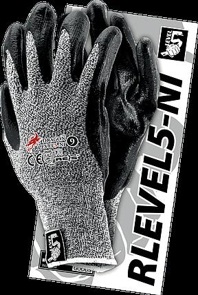 Защитные перчатки RLEVEL5-NI BWB, из смеси стекловолокна и волокна,серо-черный цвет. Reis Польша, фото 2
