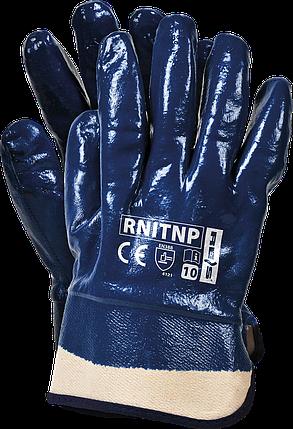 Защитные перчатки, RNITNP G покрытые нитрилом и законченные фиксированной манжетой REIS Польша, фото 2