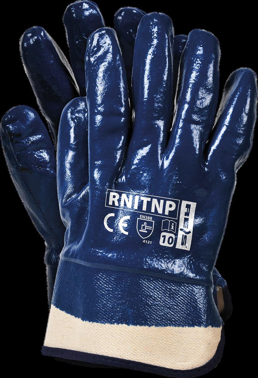Защитные перчатки, RNITNP G покрытые нитрилом и законченные фиксированной манжетой REIS Польша