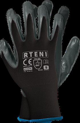 Защитные рукавицы RTENI BS изготовленные из полиэстера, покрытые нитрилом REIS Польша, фото 2