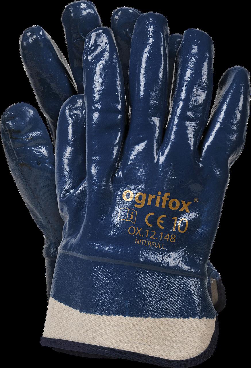 Перчатки рабочие OX-NITERFULL G покрытие нитрилом темно-синего цвета.  REIS Польша