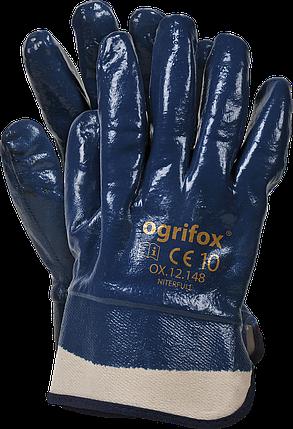 Перчатки рабочие OX-NITERFULL G покрытие нитрилом темно-синего цвета.  REIS Польша, фото 2