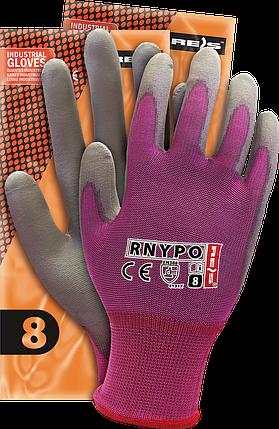 Перчатки RNYPO VS рабочие защитные нейлоновые с полиуретановым покрытием серого цвета. REIS Польша, фото 2