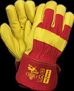 Перчатки CANADA CY рабочие укрепленные кожей красно-желтый цвет (кожаные рабочие перчатки)REIS Польша