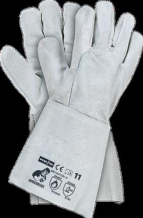 Сварочные перчатки RSPBSZINDIANEX JS кожаные рабочие длинные REIS (RAW-POL) Польша , фото 2