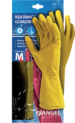 Перчатки защитные резиновые флоковые RF Y рабочие, Reis Польша, фото 2