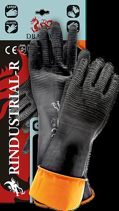 Защитные рукавицы, изготовленные из резины с продленной манжетой 35 cm RINDUSTRIAL-R BP, фото 2