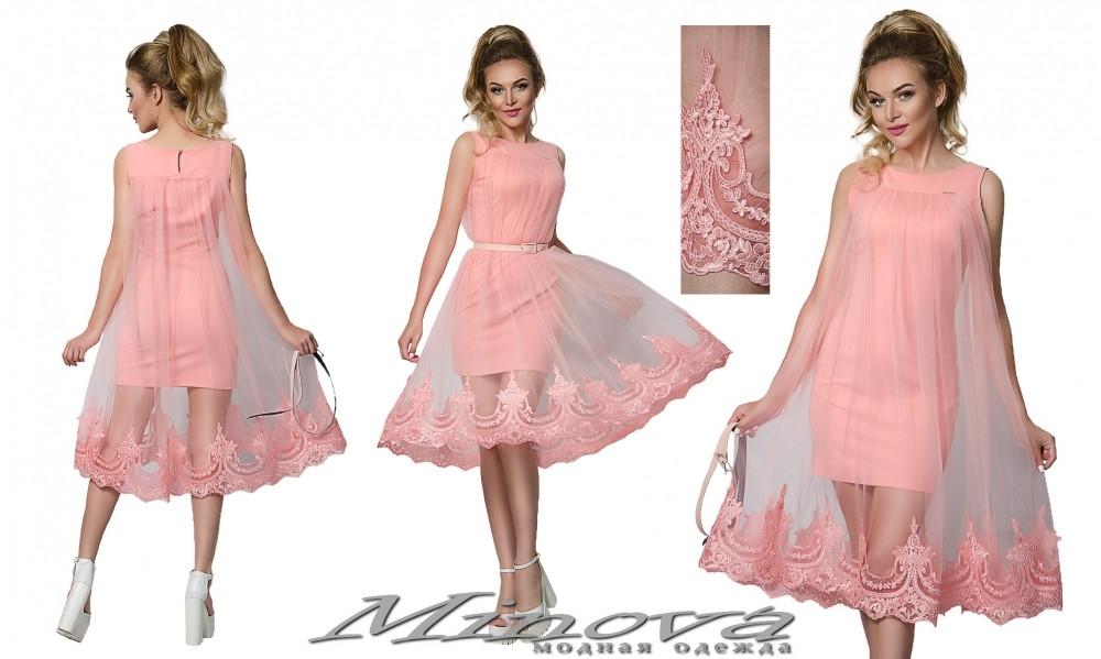 Нарядное женское платье с вышитой накидкой 42-48рр. (в расцветках)