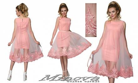 Нарядное женское платье с вышитой накидкой 42-48рр. (в расцветках), фото 2