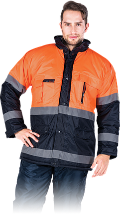 Куртка BLUE-ORANGE GP зимняя со светоотражающими полосками рабочая Reis Польша (спецодежда сигнальная) , фото 2