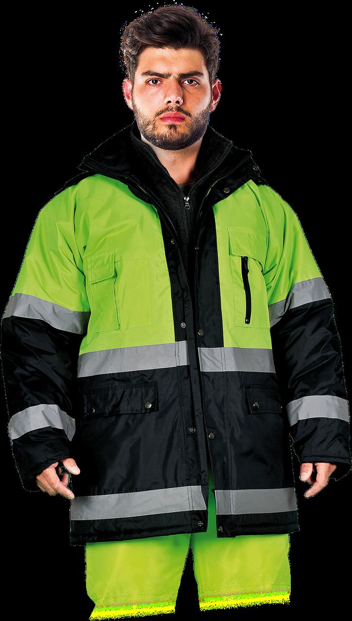 Куртка  BLUE-YELLOW GY со светоотражающими полосками утепленная рабочая Reis Польша (спецодежда сигнальная)