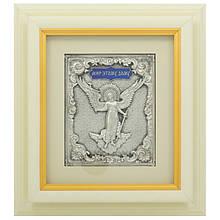"""Ключниця настінна дерев'яна з посрібленою іконою Янгола-Охоронця """"Мир цьому дому"""""""