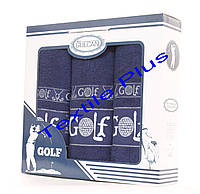 Набор махровых полотенец Gulcan Golf 3шт синий
