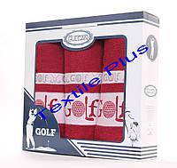 Набор махровых полотенец Gulcan Golf 3шт бордовый