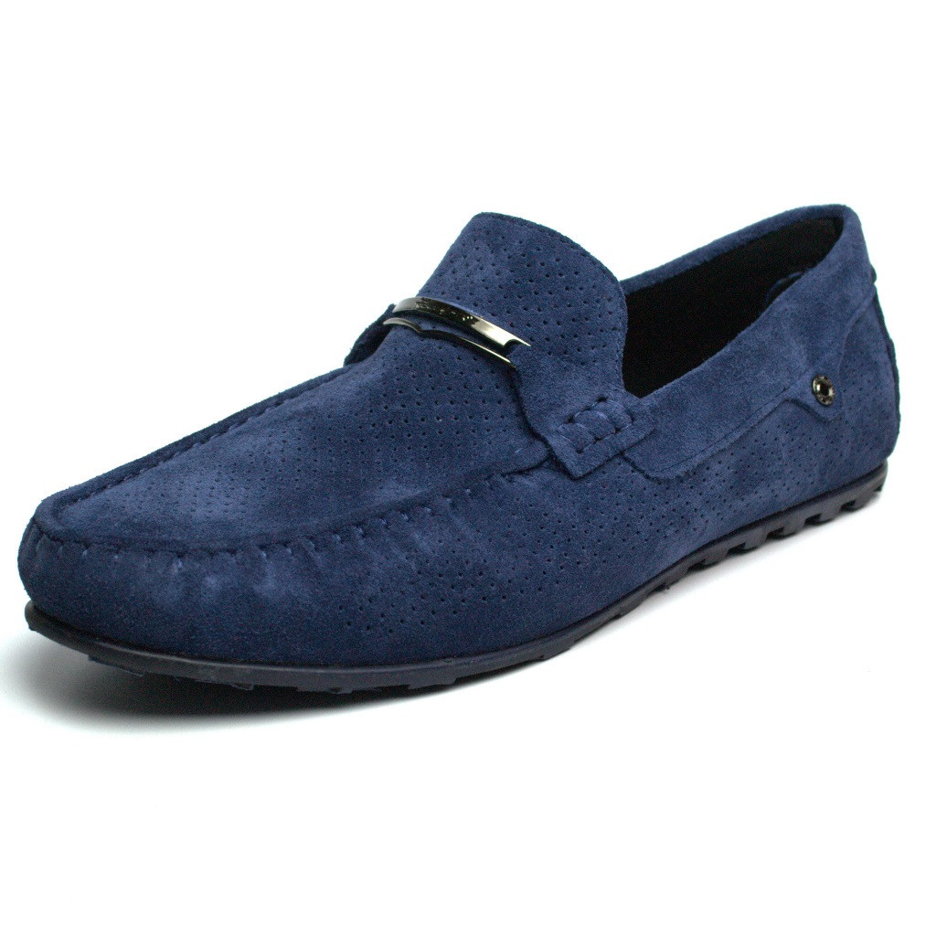 Летние тёмно-синие мужские мокасины перфорация обувь больших размеров Rosso Avangard Cross Sapphire BS
