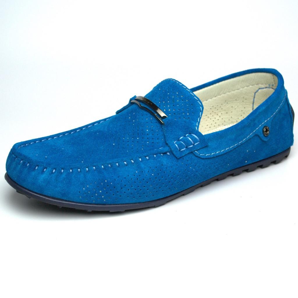 Летние мокасины замшевые бирюзовые с перфорацией мужская обувь большой размер Rosso Avangard Cross Tru Summer
