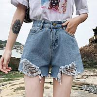 Женские джинсовые шорты с рваными краями голубые, фото 1