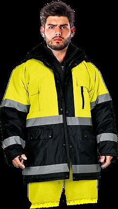 Зимняя куртка BLUE-YELLOW-J YG  со светоотражающими полосками.Reis Польша (спецодежда сигнальная), фото 2