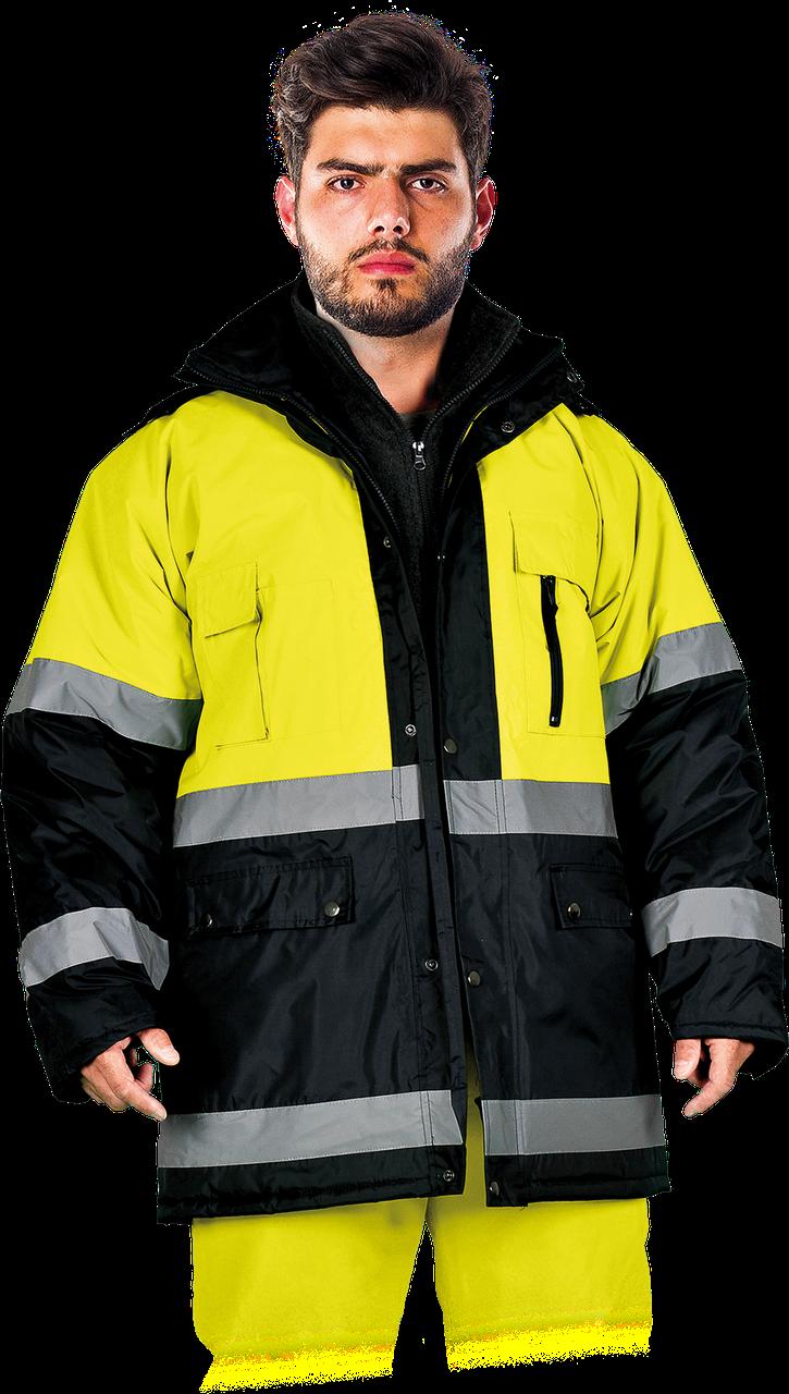 Зимняя куртка BLUE-YELLOW-J YG  со светоотражающими полосками.Reis Польша (спецодежда сигнальная)