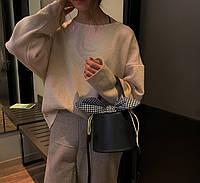 Модная женская сумка цилиндр на завязках