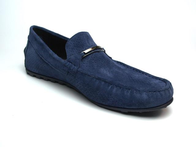 Летние мокасины замшевые синие с перфорацией мужская обувь Rosso Avangard ETHEREAL Cross Sapphire