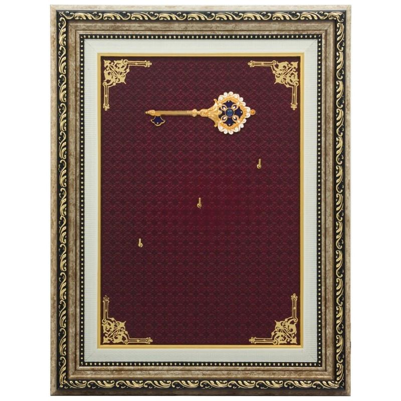 """Ключница настенная деревянная открытая украшена позолотой, эмалью и камнями Swarovski """"Золотой ключик"""""""