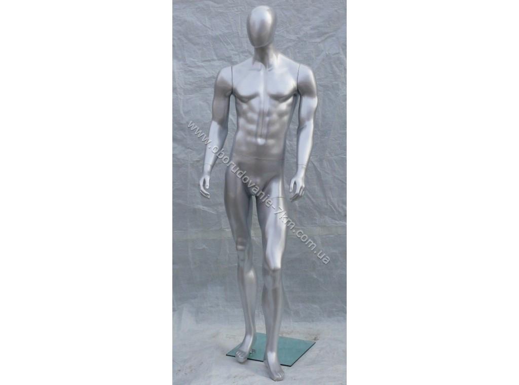Манекен мужской гипсовый (лак) (серебро, чёрный) MK-15