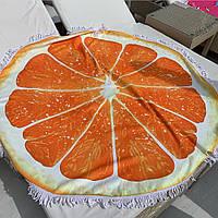 Пляжные круглые полотенца / покрывала с бахрамой Апельсин