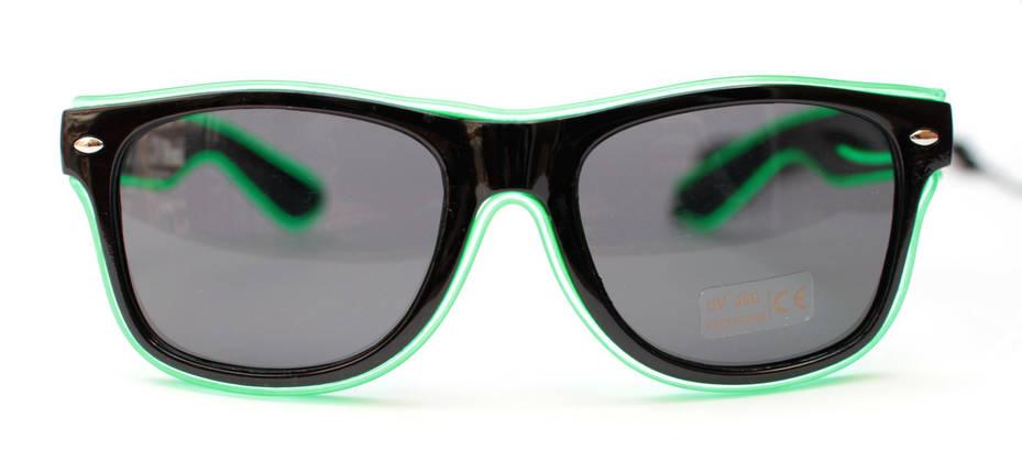 Светодиодные неоновые светящиеся ЛЕД очки затемненные комплект с инвентором LED Neon Party Glasses, фото 2