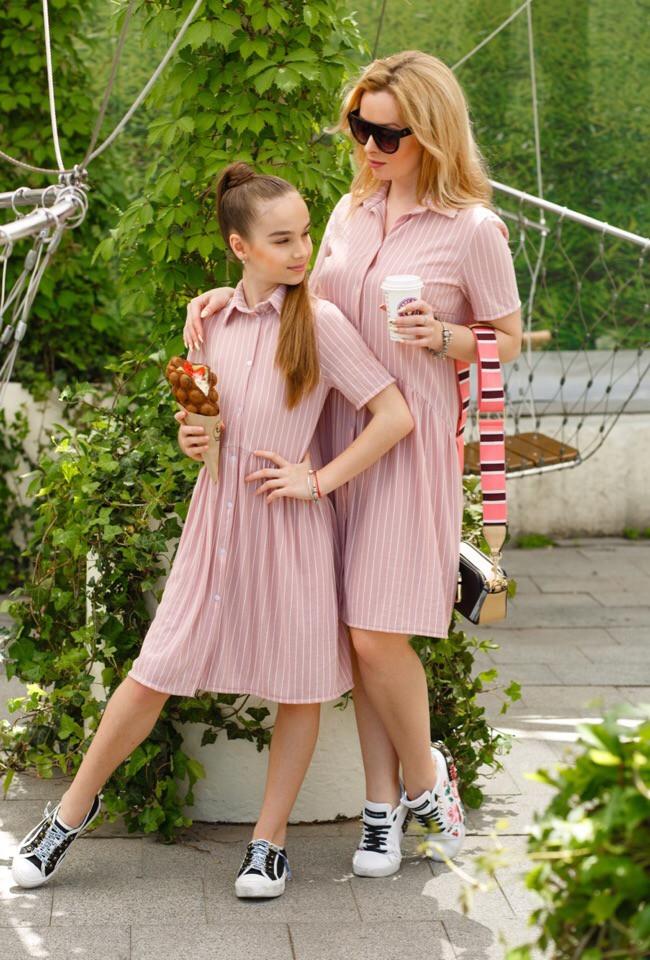 Платье-рубашка детское летнее в полоску