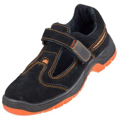Сандали  304 SB с металлическим носком, изготовлены из кожи,черно-оранжевого цвета.  Urgent (POLAND)