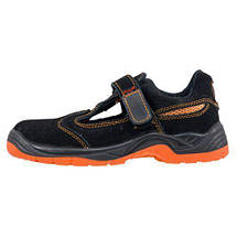 Сандали  304 SB с металлическим носком, изготовлены из кожи,черно-оранжевого цвета.  Urgent (POLAND), фото 3