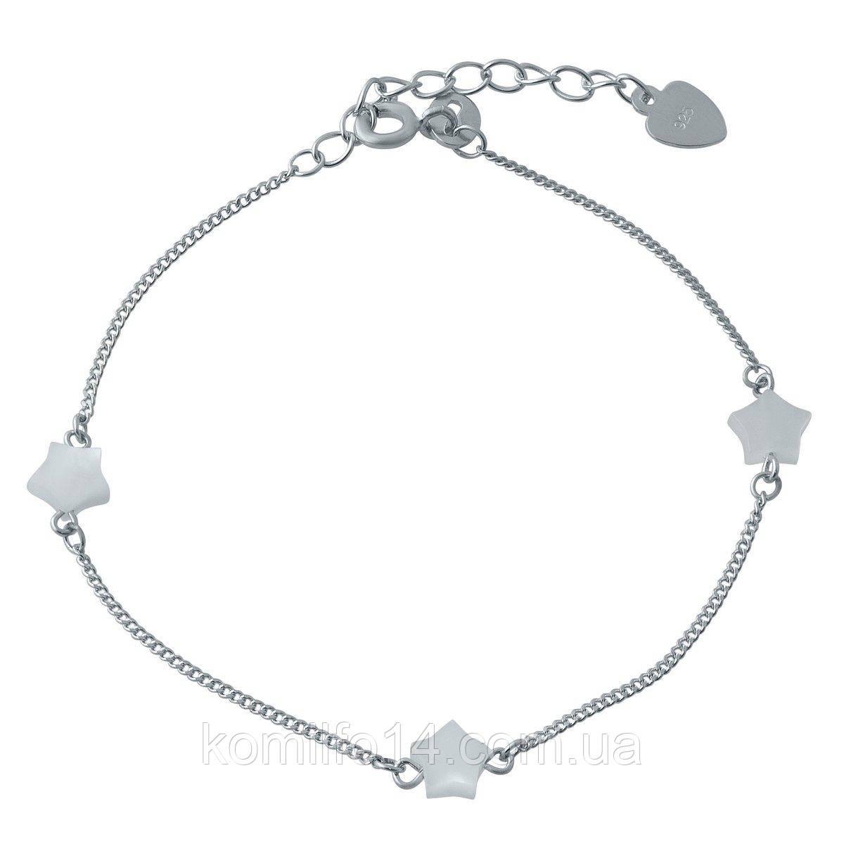 Серебряный женский браслет с перламутром