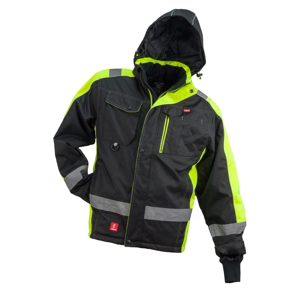 Куртка  GL-8365, утеплённая, выполнена из 100% полиэстера, черно-желтого цвета.  Urgent (POLAND)