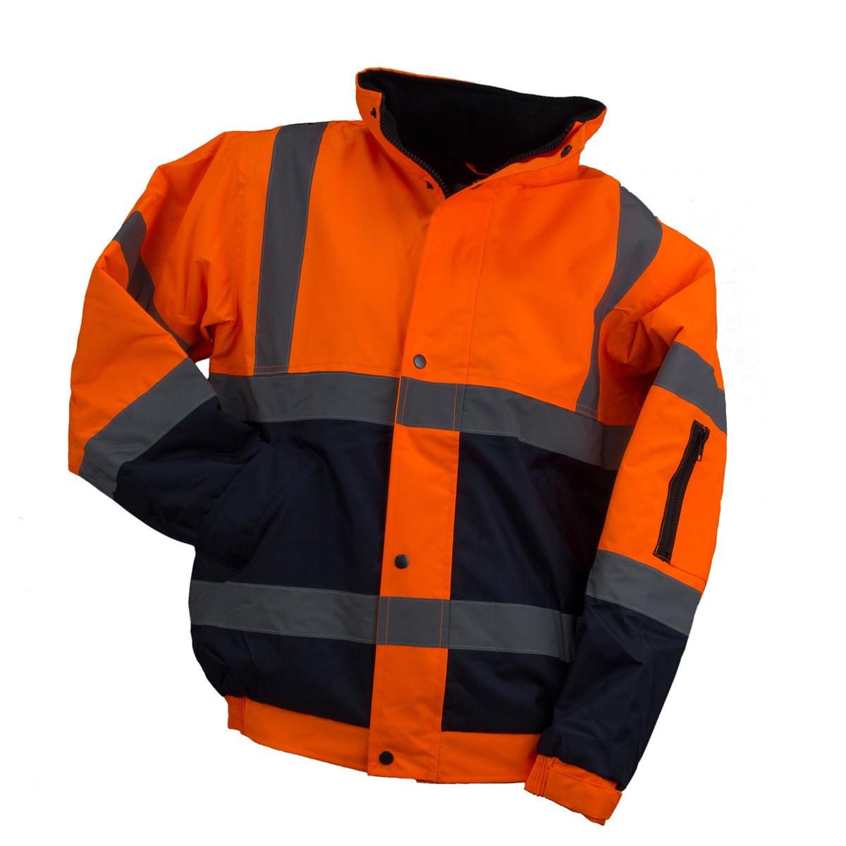 Куртка  BOMBER ORANGE со светотражающими полосами, черно-оранжевого цвета. Urgent (POLAND)