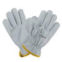 Перчатки из козьей кожи 1204 белого цвета с манжетой Urgent (POLAND)