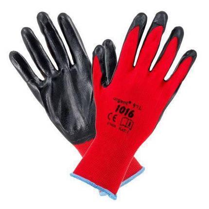Рабочие перчатки 1016 покрытые нитрилом, черно-красного цвета. Urgent (POLAND), фото 2