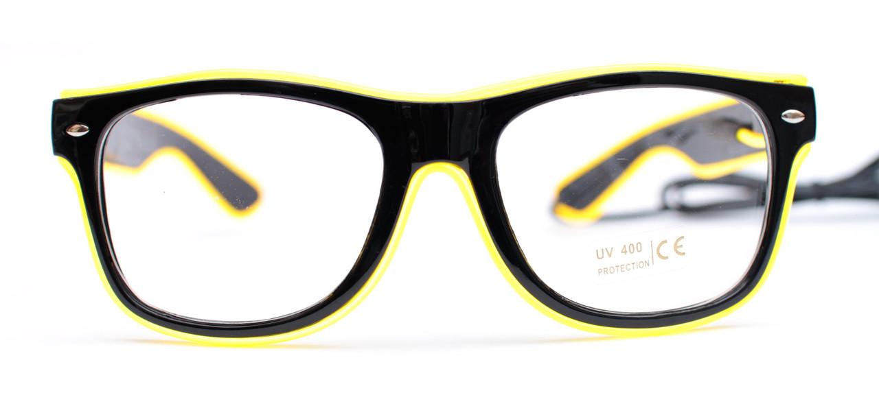 Светодиодные неоновые светящиеся ЛЕД очки прозрачные комплект с инвентором LED Neon Party Glasses