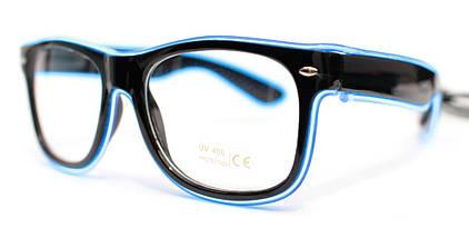 Светодиодные неоновые светящиеся ЛЕД очки прозрачные комплект с инвентором LED Neon Party Glasses, фото 2