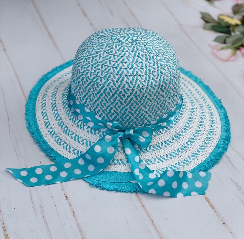 Шляпа соломенная женская с лентой в горошек